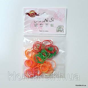 Резинки для плетения косичек, силиконовые, (100 шт/уп)