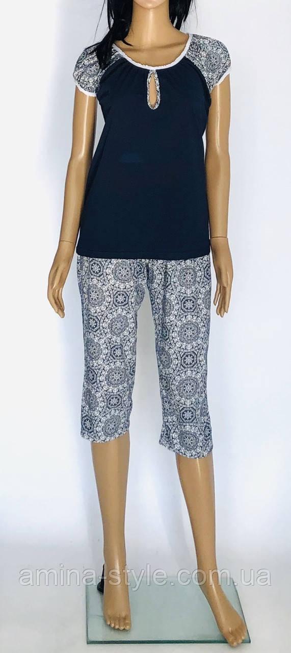 Трикотажная женская пижама с бриджами. Размер 50-58. Батал