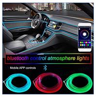 RGB разноцветный Неон в авто • Холодный неон • Неоновая подсветка • Гибкий неон  • Длинна 6 метров • 5 стробов