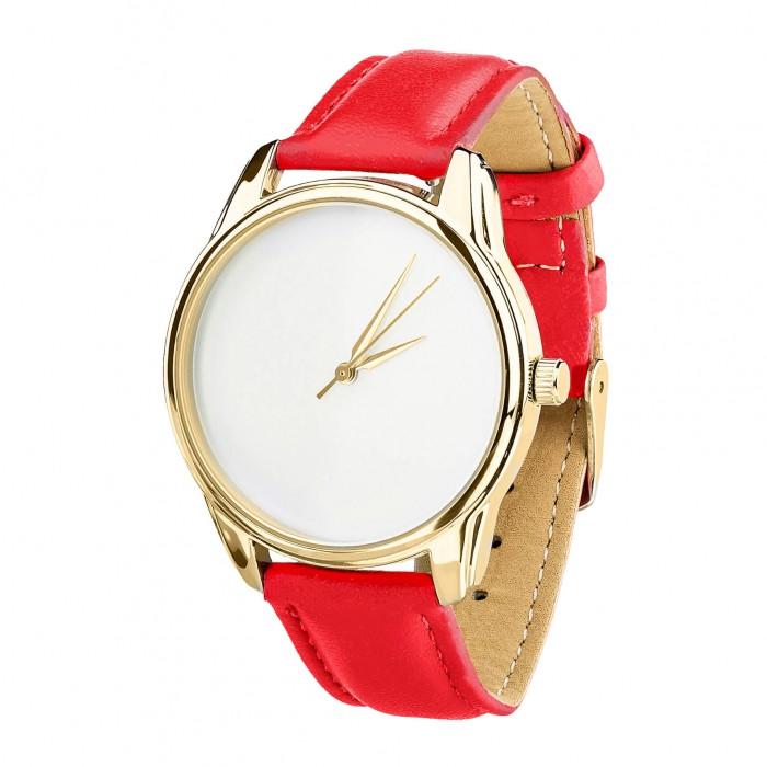 Часы Ziz Минимализм, ремешок маково-красный, золото и дополнительный ремешок SKL22-142873