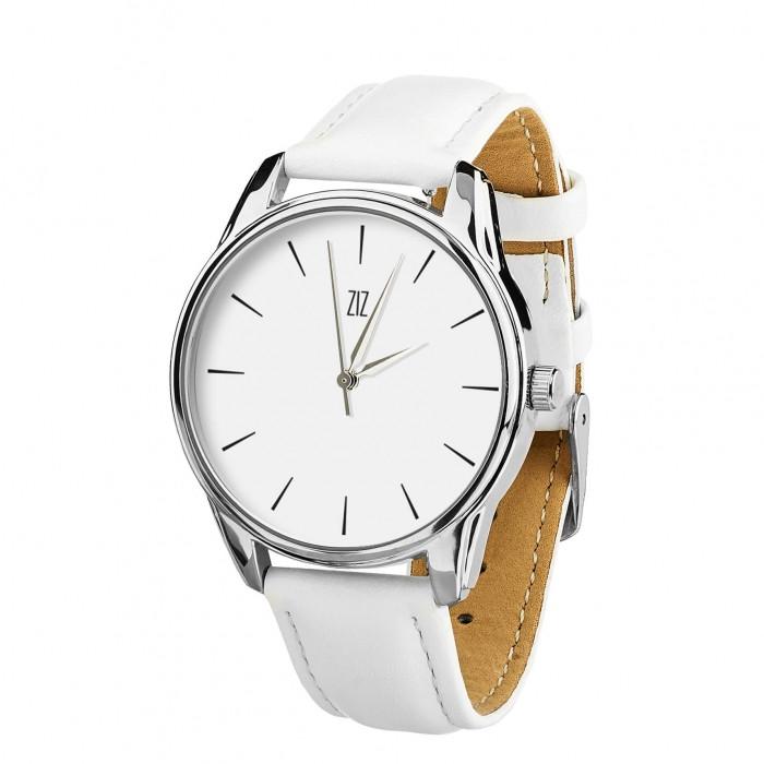 Часы Ziz Черным по белому, ремешок кокосово-белый, серебро и дополнительный ремешок SKL22-142697