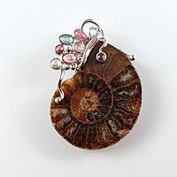 Кулон серебряный с аммонитом и турмалинами подвеска  натуральные камни
