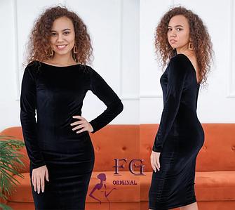 Классическое прямое платье до колен с V-обрызным вырезом сзади черное