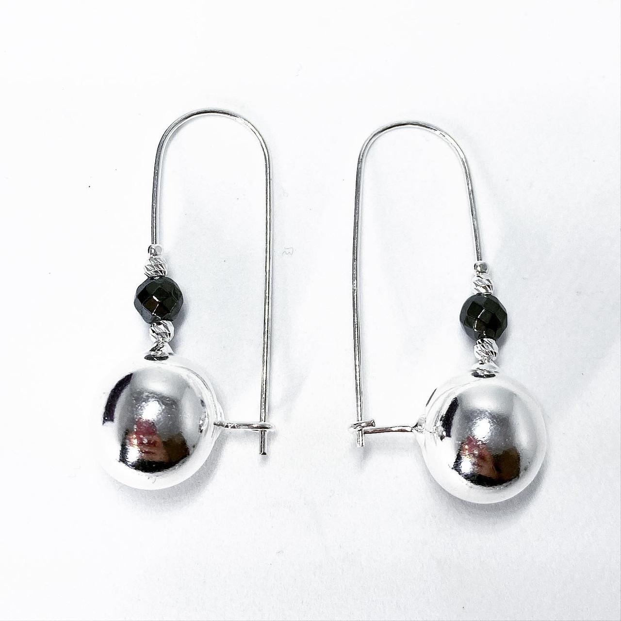 """Серьги подвески Beauty Bar из серебра 925 модель """"шары"""" -1"""