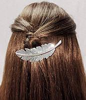 Заколка для волос Перо (цвет серебро), фото 1