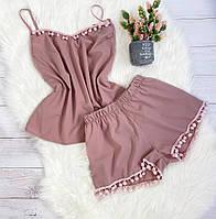 Пижама шорты и майка XXL-XXXL пыльная роза