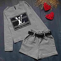 Костюм для девочки с шортами и кофточкой с принтом LV