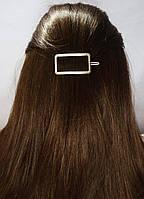 Заколка для волос фигура Прямоугольник (цвет серебро или золото), фото 1