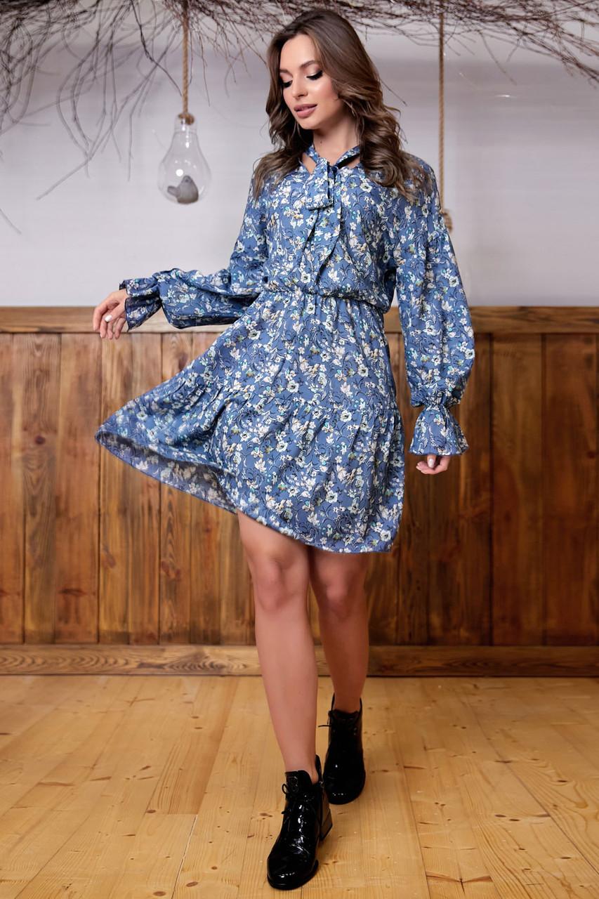 Штапельноелегкое платье в цветочный принт 1324 (42–48р) в расцветках