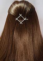 Заколка для волос фигура Ромб (цвет серебро или золото), фото 1
