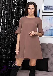 Свободное платье мини однотонное с воланами на рукавах капучино
