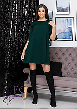 Весеннее платье мини рукав три четверти с воланами темно-синее, фото 3