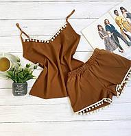 Пижама шорты и майка XXL-XXXL коричневый бубоны батал