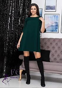 Однотонное свободное платье мини рукав три четверти с воланами темно-зеленое
