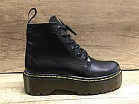 Ботинки женские Мартинсы демисезонные кожаные черные