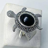 Кольцо перстень из капельного серебра 925 Beauty Bar с марказитами и ониксом Черепаха (разм.15.5)