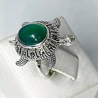 Кільце перстень з крапельного срібла 925 Beauty Bar з марказитами і хризопразом Черепаха (розм.17)