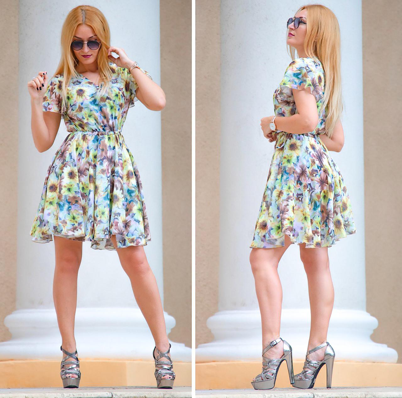 Приталенное платье из шифона 44