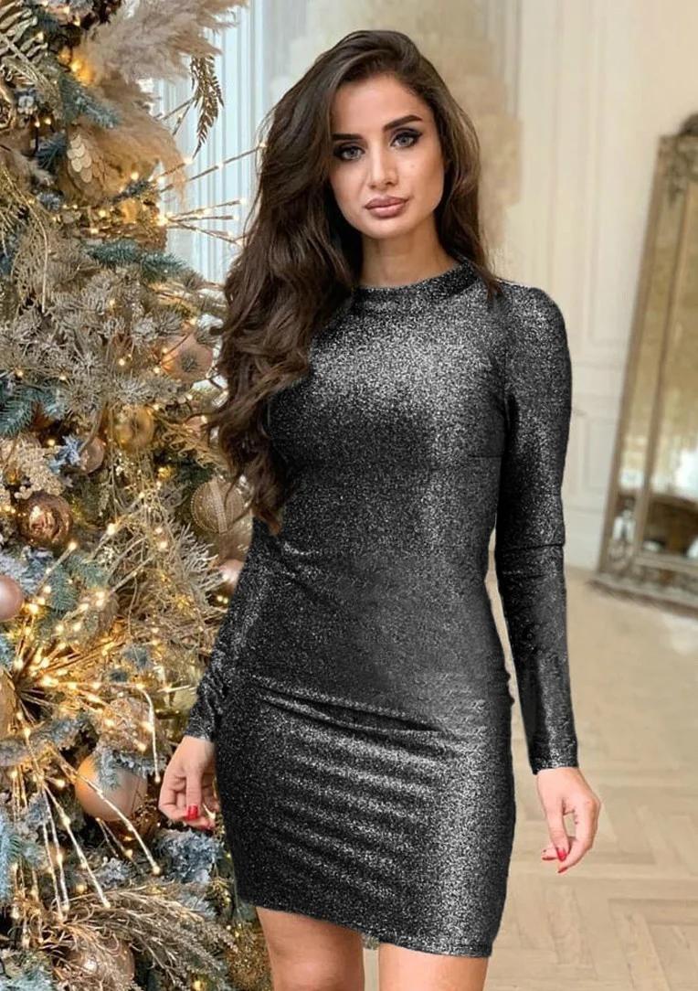 Сияющее короткое платье по фигуре с люрексом круглый вырез графит