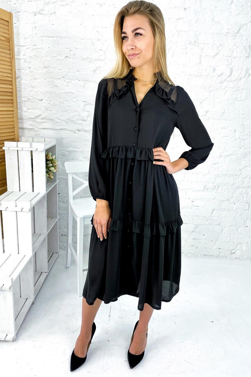 Воздушное шифоновое платье на пуговицах с рюшами