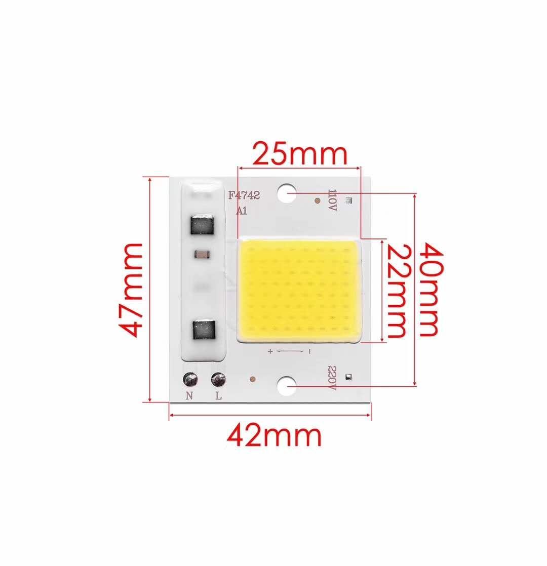 Светодиодная LED матрица AC 10Ватт 47*42мм SMART CHIP 220V ( встроенный драйвер )