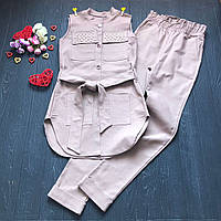 Костюм для девочки с жилеткой и брюками