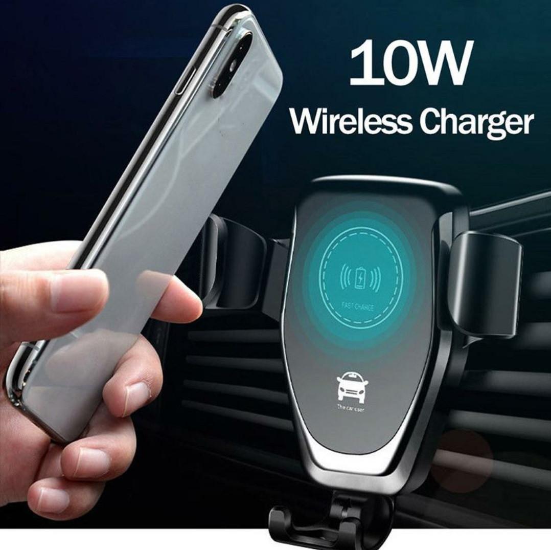 Автомобільний тримач смартфона з функцією бездротової зарядки QI Black