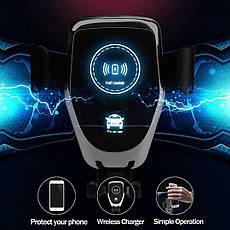 Автомобільний тримач смартфона з функцією бездротової зарядки QI Black, фото 3