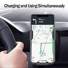 Автомобільний тримач смартфона з функцією бездротової зарядки QI Black, фото 2