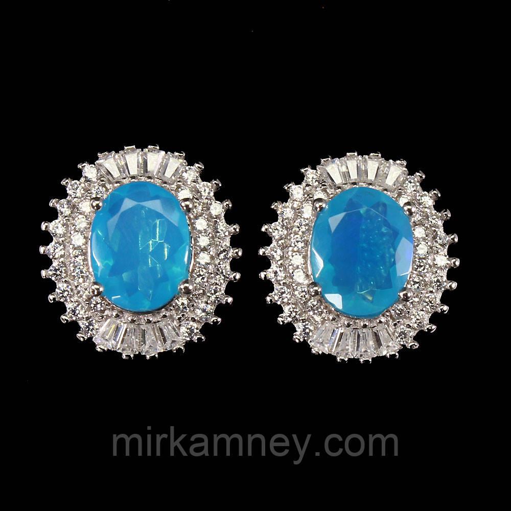Сережки шикарний натуральний природний Блакитний Вогненний Опал. Срібло 925, позолота 14 карат біле золото
