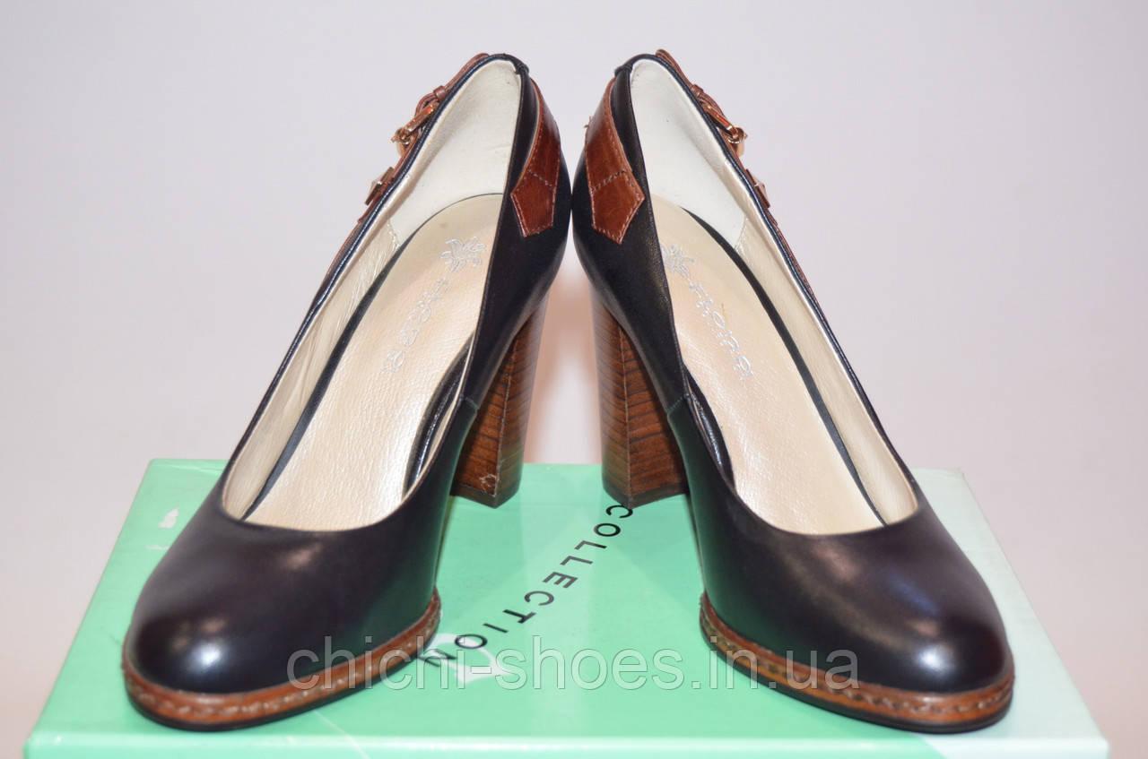 Туфли женские Flona 10-1-1 чёрные кожа на каблуке