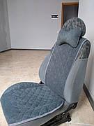 Накидки на сиденья авто из АЛЬКАНТАРЫ (искусственной замши). Серые. 2 передних