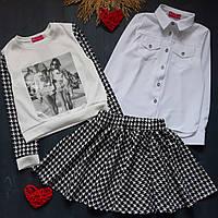 Костюм тройка с юбкою, белой футболкой,и кофтой