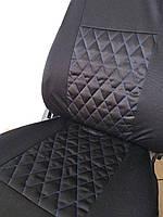 Чехлы на сиденья авто универсальные LUXE (спинка деленка) синяя строчка