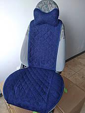 Накидки на сиденья из АЛЬКАНТАРЫ (искусственной замши). Синие. Комплект, фото 3