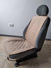 Накидки на сиденья из АЛЬКАНТАРЫ (искусственной замши). Бежевые. Комплект, фото 2