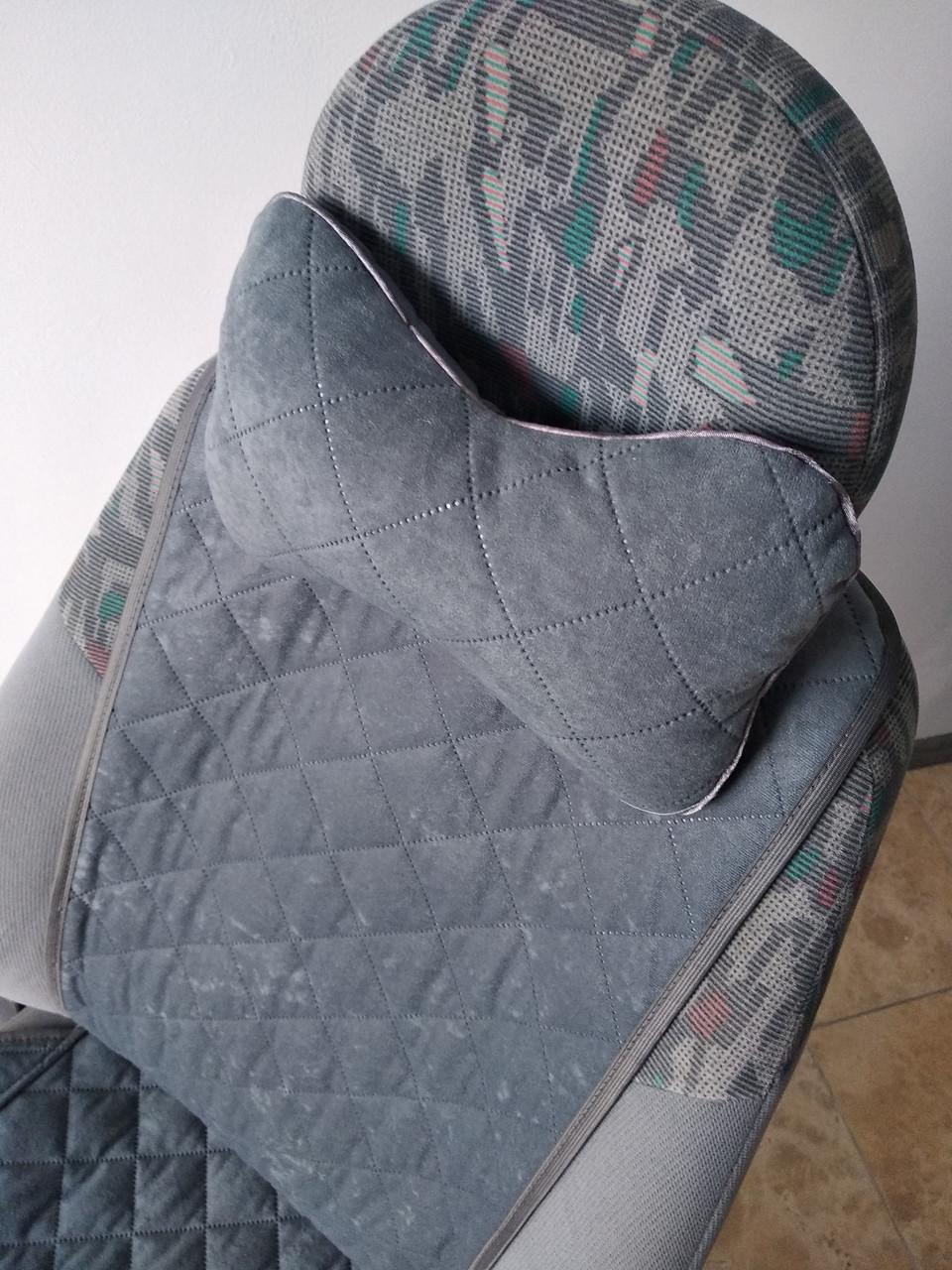 Подушка на подголовник серая