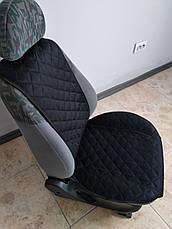 Накидки на сиденья из АЛЬКАНТАРЫ (искусственной замши). Черные. Комплект, фото 3