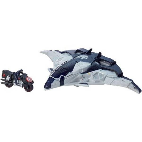 Marvel Самолет Мстителей с фигуркой Капитана Америки на мотоцикле B0425 Avengers Age of Ultron Cycle Blast