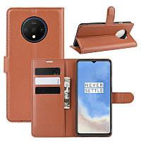 Чехол-книжка Litchie Wallet для OnePlus 7T Brown