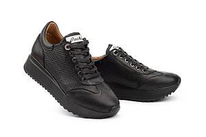 Женские кроссовки кожаные весна/осень черные Calo Pachini 4505/20-18