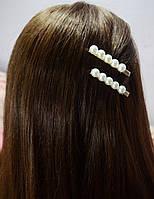 Заколка зажим для волос Жемчужины белые, фото 1
