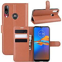 Чехол-книжка Litchie Wallet для Motorola Moto E6 Plus Brown