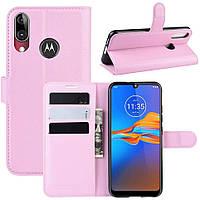 Чехол-книжка Litchie Wallet для Motorola Moto E6 Plus Pink