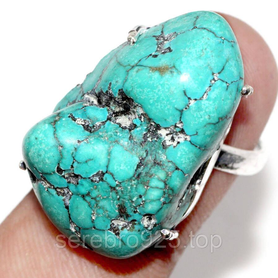 Кольцо с натуральным камнем бирюза в серебре 18 р.