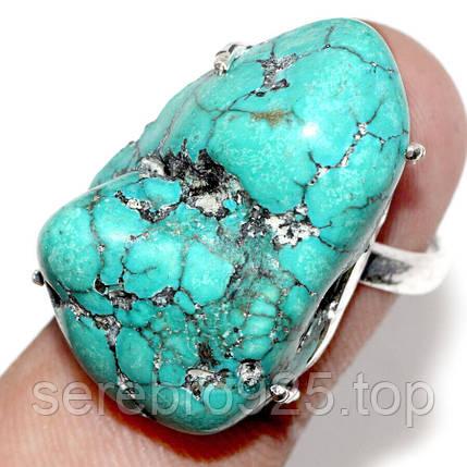 Кольцо с натуральным камнем бирюза в серебре 18 р., фото 2
