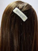Заколка зажим для волос Прямоугольник полный с жемчугом 8см, фото 1