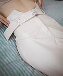 Кожаная юбка с поясом экокожа белая черная беж стильная модная размеры: 42, 44, 46, фото 4