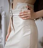 Кожаная юбка с поясом экокожа белая черная беж стильная модная размеры: 42, 44, 46, фото 5