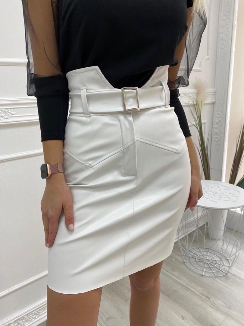 Кожаная юбка с поясом экокожа белая черная беж стильная модная размеры: 42, 44, 46